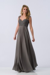 Bridesmaids Dresses - BM078 - $160 - Chiffon and lace dress with cap sleeves and open back by Kanali K.