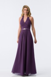 Bridesmaids Dresses - BM079 - $175 - Chiffon halter top dress with satin sash by Kanali K.