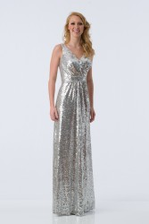 Bridesmaids Dresses - BM065 - $245 - Long halter top sequin dress by Kanali K.