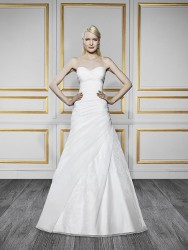 Bridal gowns - LGM87 - Strapless A-line organza wedding dress with a ruched bodice by Moonlight Bridal.