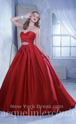 Bridal gowns - LGM106 - $622 - Satin ball gown wedding dress with crossover bodice and jeweled sash by House of Wu.