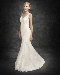 Bridal gowns - *LGM105 - Must view in store - Satin and lace wedding dress with beaded back by Ella Rosa.