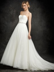 Bridal gowns - *LGM97 - Must view in store - Pleated tulle bodice with beaded waist and corset back by Ella Rosa.