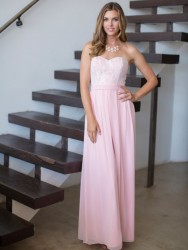 Bridesmaids Dresses - *BM096 - Must view in store - Available in short and long - Chiffon dress with lace bodice by Kenneth Winston.