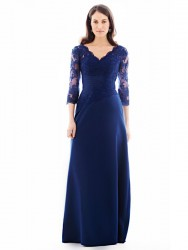 Bridesmaids Dresses - *BM097 - Must view in store - Available in short and long - Satin dress with lace sleeves by Kenneth Winston.