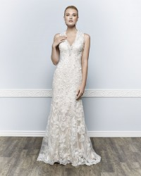 Bridal gowns - *LGM99 - Must view in store - Satin and lace sheath wedding dress by Kenneth Winston.