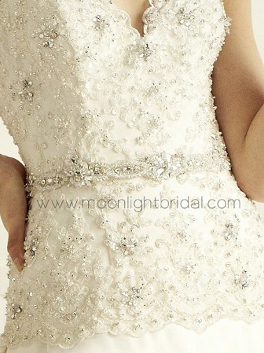 Bridal accessories - Thin beaded bridal sash with pearls by Moonlight Bridal