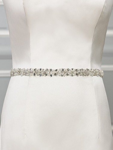 Bridal accessories - Thin beaded bridal sash by Moonlight Bridal
