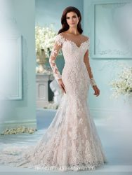 Bridal gowns - *LGM121 - Must view in store – Fit and flare cage bridal dress with illusion and lace long sleeves and faux off-the-shoulder bodice and illusion back by David Tutera.