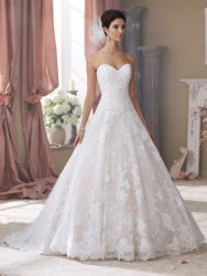 Bridal gowns - *LGM120 - Must view in store – Strapless tulle and organza over taffeta ball gown bridal dress with a sweetheart neckline by David Tutera. Available in blush.