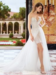 Bridal gowns - *LGM119 - Must view in store – Two-piece short bridal dress with a scalloped sweetheart neckline and detachable tulle overskirt with sweep train by David Tutera.