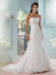 *LGM129- Must view in store – Strapless lace bridal dress by David Tutera.