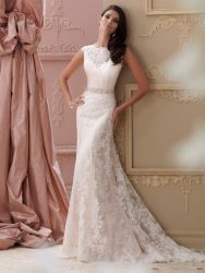*LGM130- Must view in store – A-line lace bridal dress with plunging deep V-back by David Tutera.