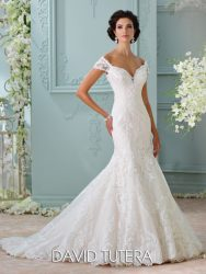 *LGM124- Must view in store – Off-the-shoulder trumpet bridal dress with a deep sweetheart neckline and illusion back by David Tutera.