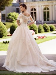 *LGM127- Must view in store – Off-the-shoulder ball gown with scalloped lace three-quarter length sleeves and illusion back by David Tutera.